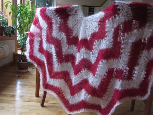 sjal med zigzag mønster
